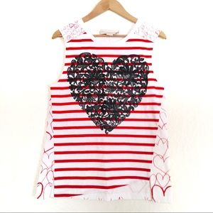 Stella McCartney Red and White Striped Top Heart